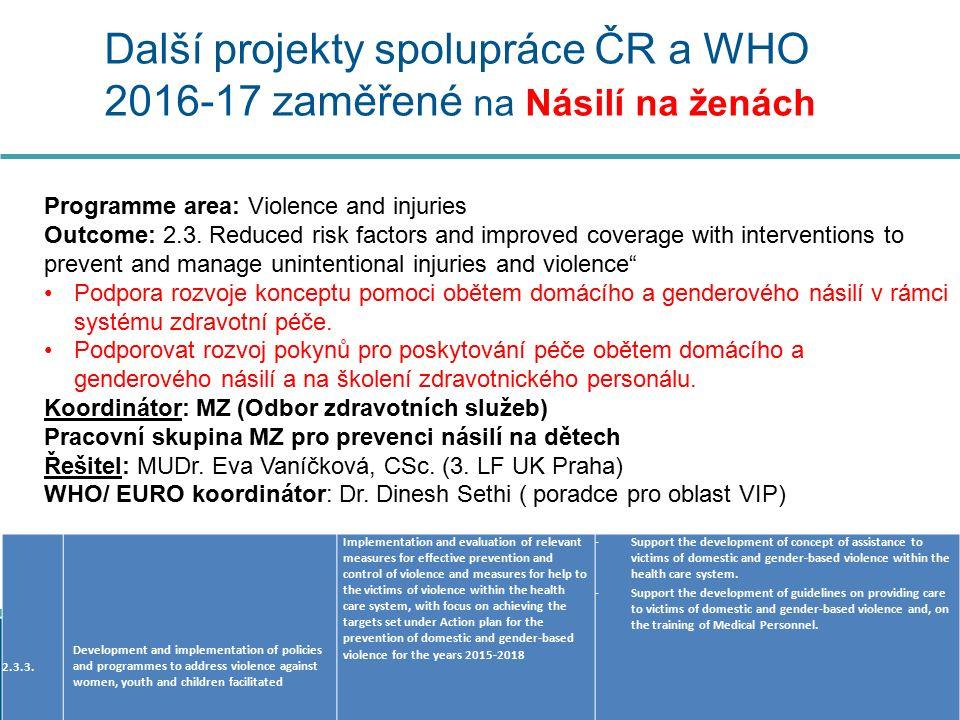 Další projekty spolupráce ČR a WHO 2016-17 zaměřené na Násilí na ženách 2.3.3.