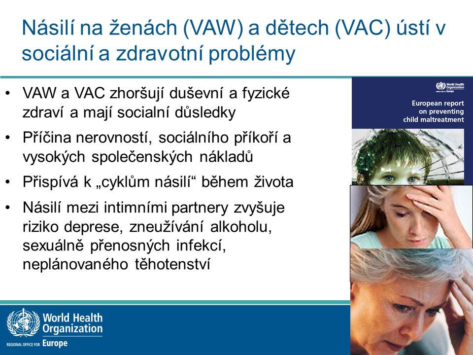 """Násilí na ženách (VAW) a dětech (VAC) ústí v sociální a zdravotní problémy VAW a VAC zhoršují duševní a fyzické zdraví a mají socialní důsledky Příčina nerovností, sociálního příkoří a vysokých společenských nákladů Přispívá k """"cyklům násilí během života Násilí mezi intimními partnery zvyšuje riziko deprese, zneužívání alkoholu, sexuálně přenosných infekcí, neplánovaného těhotenství"""