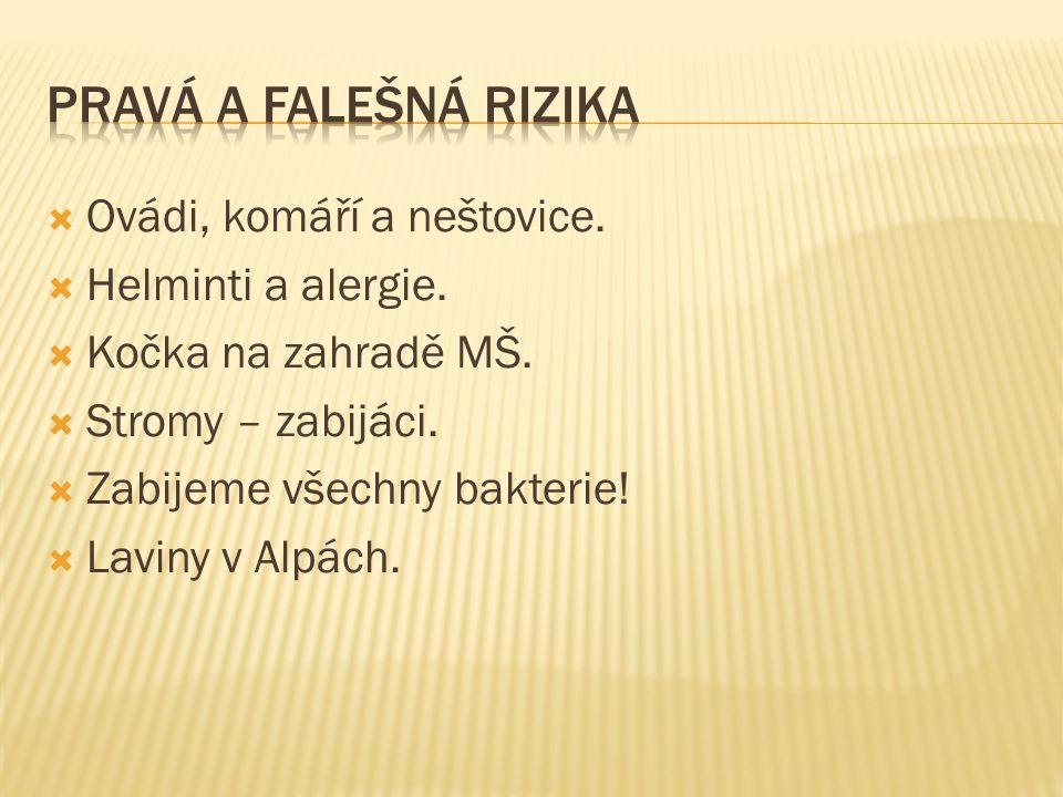  Ovádi, komáří a neštovice.  Helminti a alergie.
