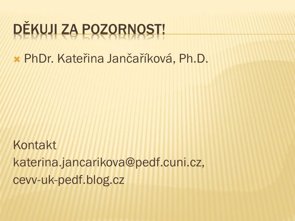  PhDr. Kateřina Jančaříková, Ph.D. Kontakt katerina.jancarikova@pedf.cuni.cz, cevv-uk-pedf.blog.cz