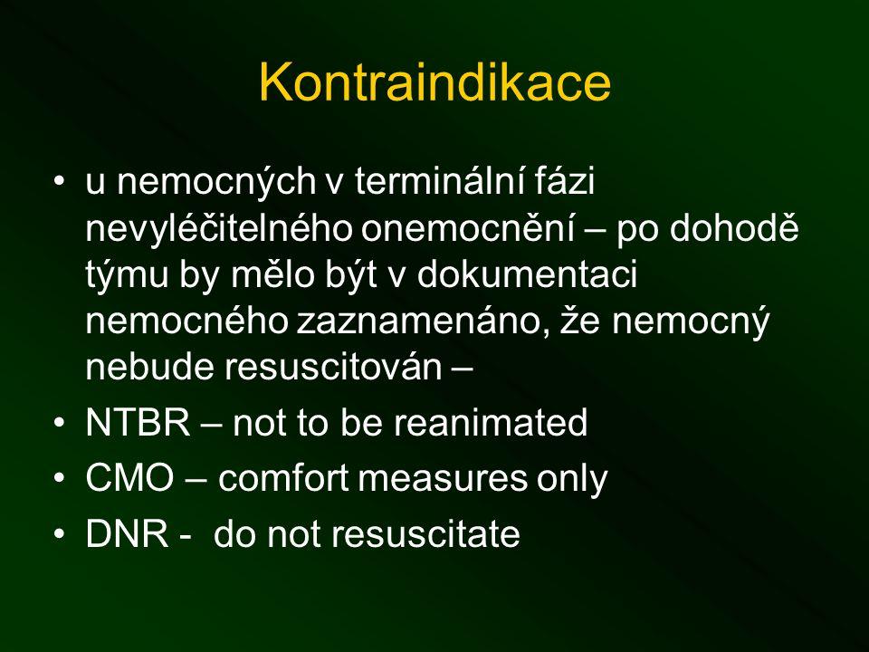 Kontraindikace u nemocných v terminální fázi nevyléčitelného onemocnění – po dohodě týmu by mělo být v dokumentaci nemocného zaznamenáno, že nemocný nebude resuscitován – NTBR – not to be reanimated CMO – comfort measures only DNR - do not resuscitate