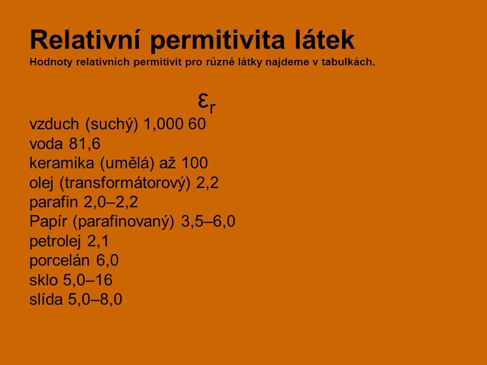 Relativní permitivita látek Hodnoty relativních permitivit pro různé látky najdeme v tabulkách. ε r vzduch (suchý) 1,000 60 voda 81,6 keramika (umělá)