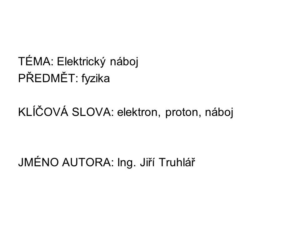 TÉMA: Elektrický náboj PŘEDMĚT: fyzika KLÍČOVÁ SLOVA: elektron, proton, náboj JMÉNO AUTORA: Ing.