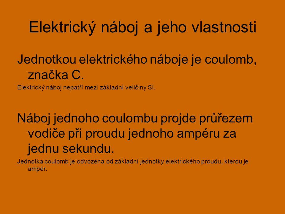 Elektrický náboj a jeho vlastnosti Jednotkou elektrického náboje je coulomb, značka C.