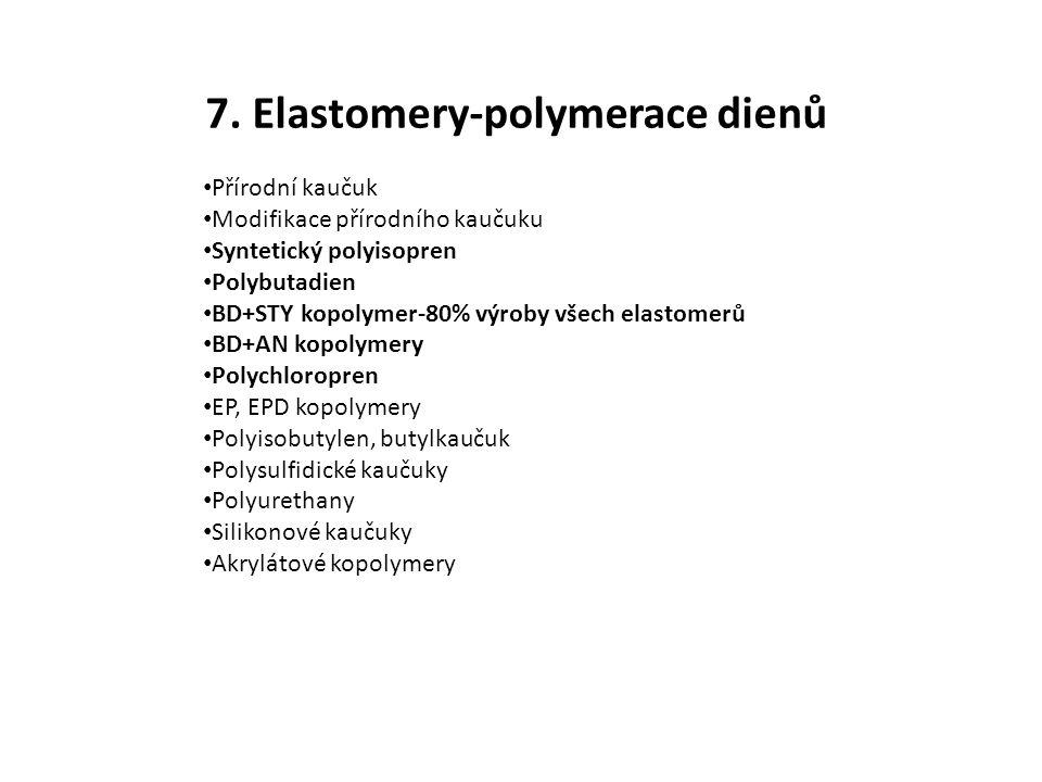 7. Elastomery-polymerace dienů Přírodní kaučuk Modifikace přírodního kaučuku Syntetický polyisopren Polybutadien BD+STY kopolymer-80% výroby všech ela