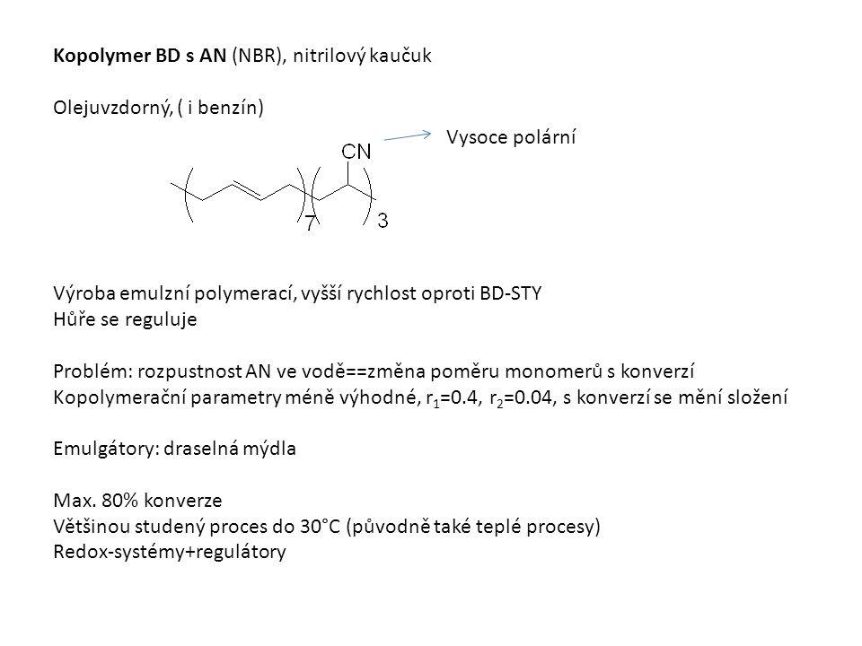 Kopolymer BD s AN (NBR), nitrilový kaučuk Olejuvzdorný, ( i benzín) Vysoce polární Výroba emulzní polymerací, vyšší rychlost oproti BD-STY Hůře se reguluje Problém: rozpustnost AN ve vodě==změna poměru monomerů s konverzí Kopolymerační parametry méně výhodné, r 1 =0.4, r 2 =0.04, s konverzí se mění složení Emulgátory: draselná mýdla Max.