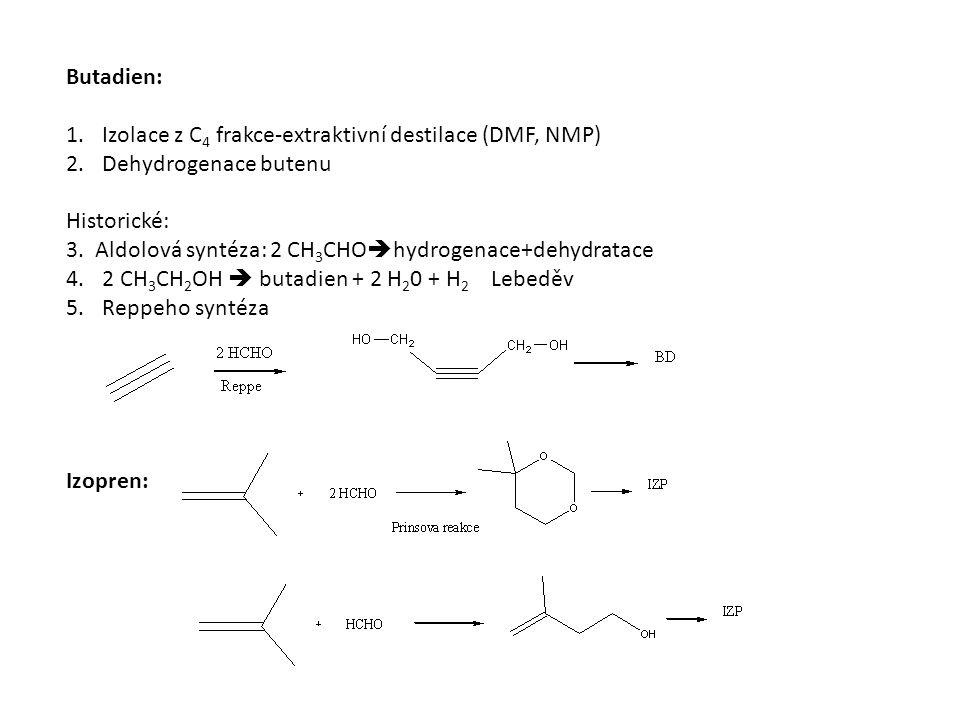 Butadien: 1.Izolace z C 4 frakce-extraktivní destilace (DMF, NMP) 2.Dehydrogenace butenu Historické: 3. Aldolová syntéza: 2 CH 3 CHO  hydrogenace+deh