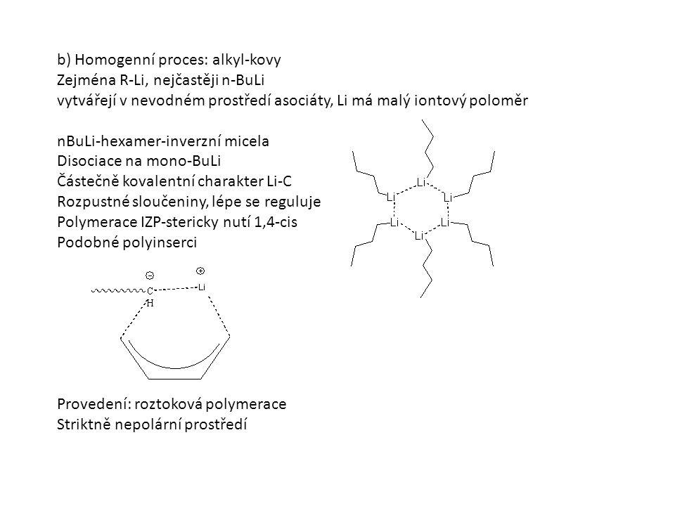 b) Homogenní proces: alkyl-kovy Zejména R-Li, nejčastěji n-BuLi vytvářejí v nevodném prostředí asociáty, Li má malý iontový poloměr nBuLi-hexamer-inverzní micela Disociace na mono-BuLi Částečně kovalentní charakter Li-C Rozpustné sloučeniny, lépe se reguluje Polymerace IZP-stericky nutí 1,4-cis Podobné polyinserci Provedení: roztoková polymerace Striktně nepolární prostředí