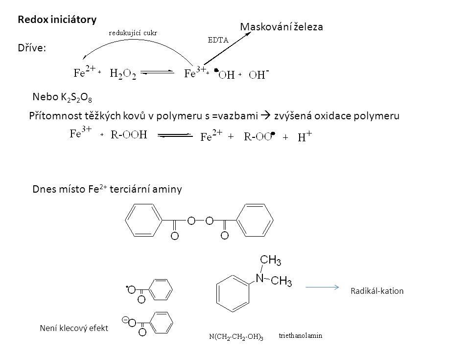 Není klecový efekt Radikál-kation Přítomnost těžkých kovů v polymeru s =vazbami  zvýšená oxidace polymeru Redox iniciátory Dříve: Nebo K 2 S 2 O 8 Maskování železa Dnes místo Fe 2+ terciární aminy