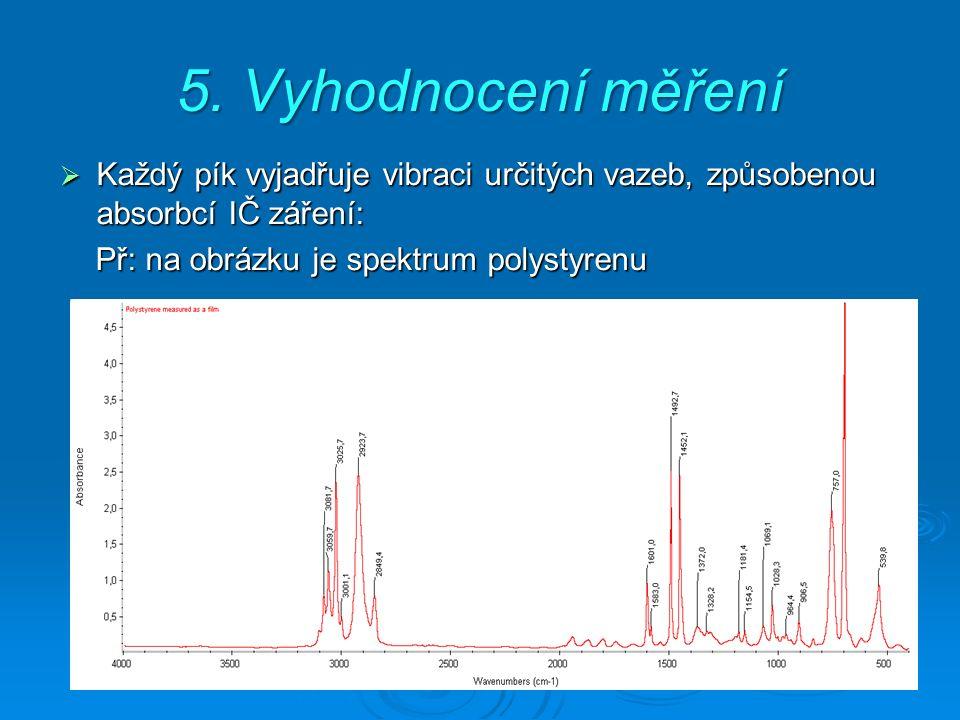 5. Vyhodnocení měření  Každý pík vyjadřuje vibraci určitých vazeb, způsobenou absorbcí IČ záření: Př: na obrázku je spektrum polystyrenu Př: na obráz
