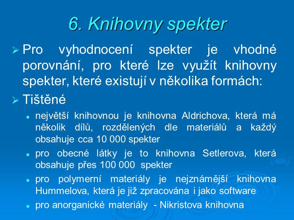 6. Knihovny spekter   Pro vyhodnocení spekter je vhodné porovnání, pro které lze využít knihovny spekter, které existují v několika formách:   Tiš