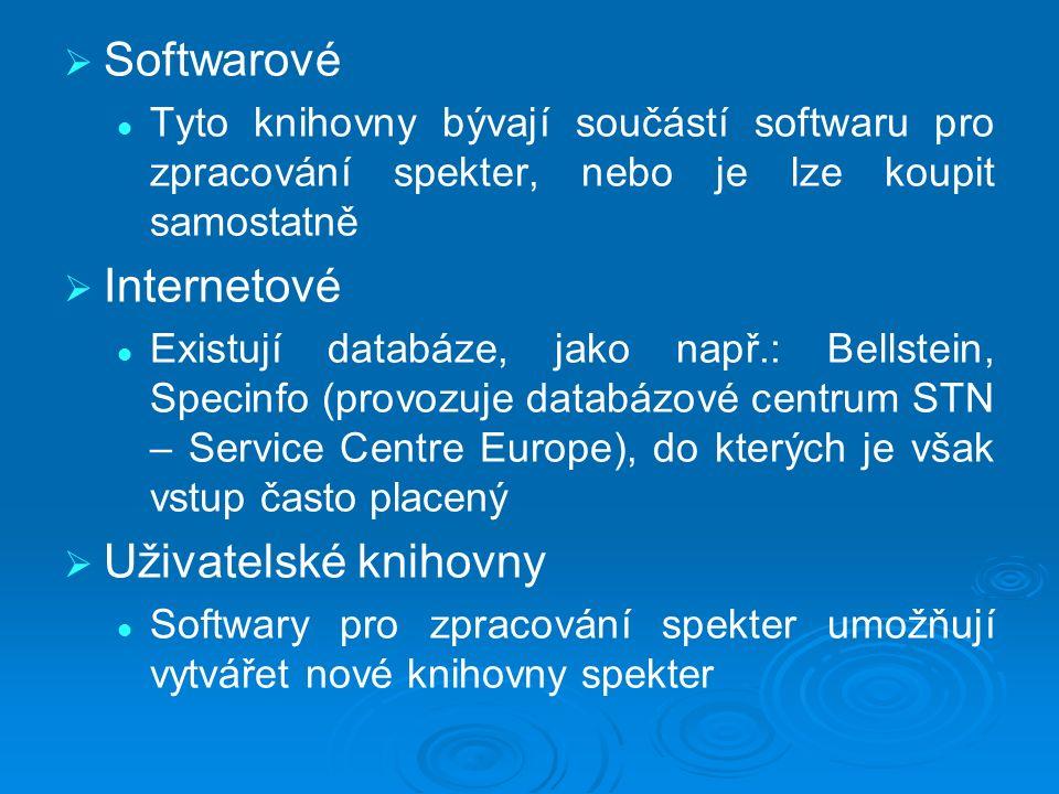   Softwarové Tyto knihovny bývají součástí softwaru pro zpracování spekter, nebo je lze koupit samostatně   Internetové Existují databáze, jako např.: Bellstein, Specinfo (provozuje databázové centrum STN – Service Centre Europe), do kterých je však vstup často placený   Uživatelské knihovny Softwary pro zpracování spekter umožňují vytvářet nové knihovny spekter