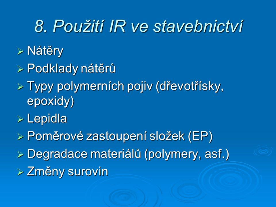 8. Použití IR ve stavebnictví  Nátěry  Podklady nátěrů  Typy polymerních pojiv (dřevotřísky, epoxidy)  Lepidla  Poměrové zastoupení složek (EP) 