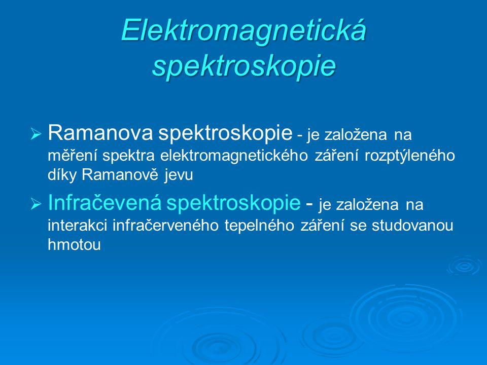 Elektromagnetická spektroskopie   Ramanova spektroskopie - je založena na měření spektra elektromagnetického záření rozptýleného díky Ramanově jevu   Infračevená spektroskopie - je založena na interakci infračerveného tepelného záření se studovanou hmotou