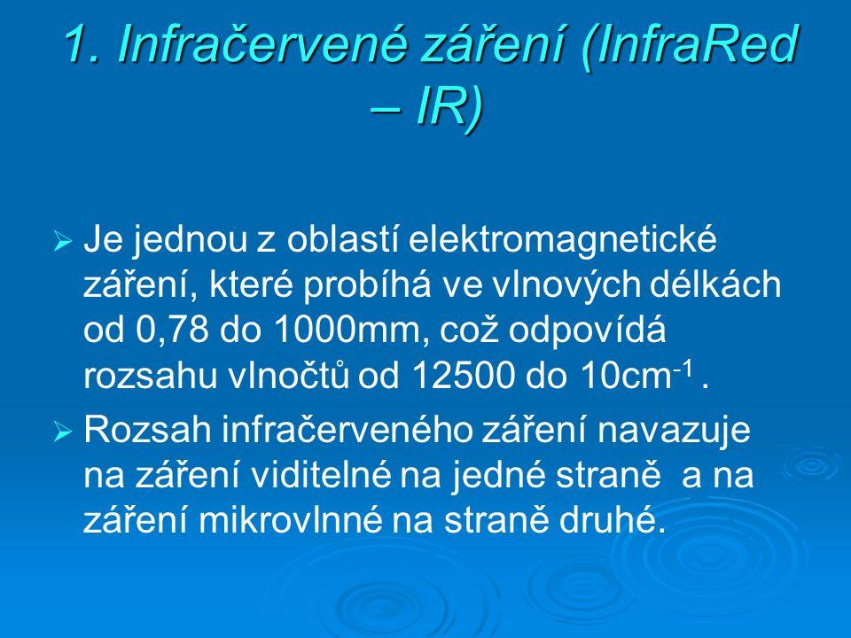 1. Infračervené záření (InfraRed – IR)   Je jednou z oblastí elektromagnetické záření, které probíhá ve vlnových délkách od 0,78 do 1000mm, což odpo
