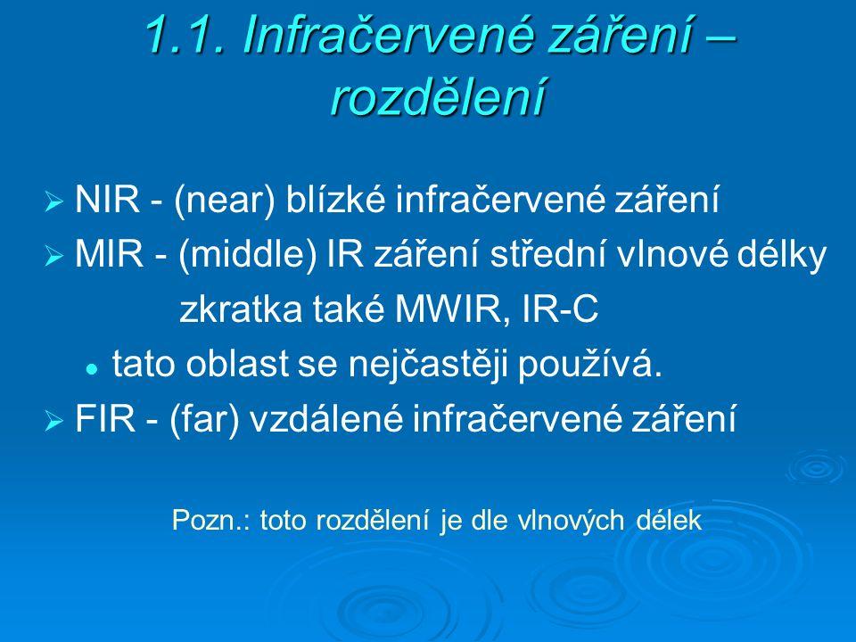 1.1. Infračervené záření – rozdělení  NIR - (near) blízké infračervené záření  MIR - (middle) IR záření střední vlnové délky zkratka také MWIR, IR-C