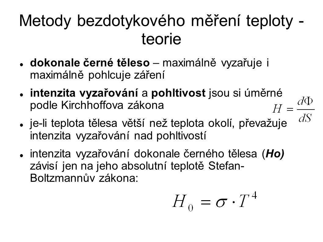 dokonale černé těleso – maximálně vyzařuje i maximálně pohlcuje záření intenzita vyzařování a pohltivost jsou si úměrné podle Kirchhoffova zákona je-li teplota tělesa větší než teplota okolí, převažuje intenzita vyzařování nad pohltivostí intenzita vyzařování dokonale černého tělesa (Ho) závisí jen na jeho absolutní teplotě Stefan- Boltzmannův zákona: