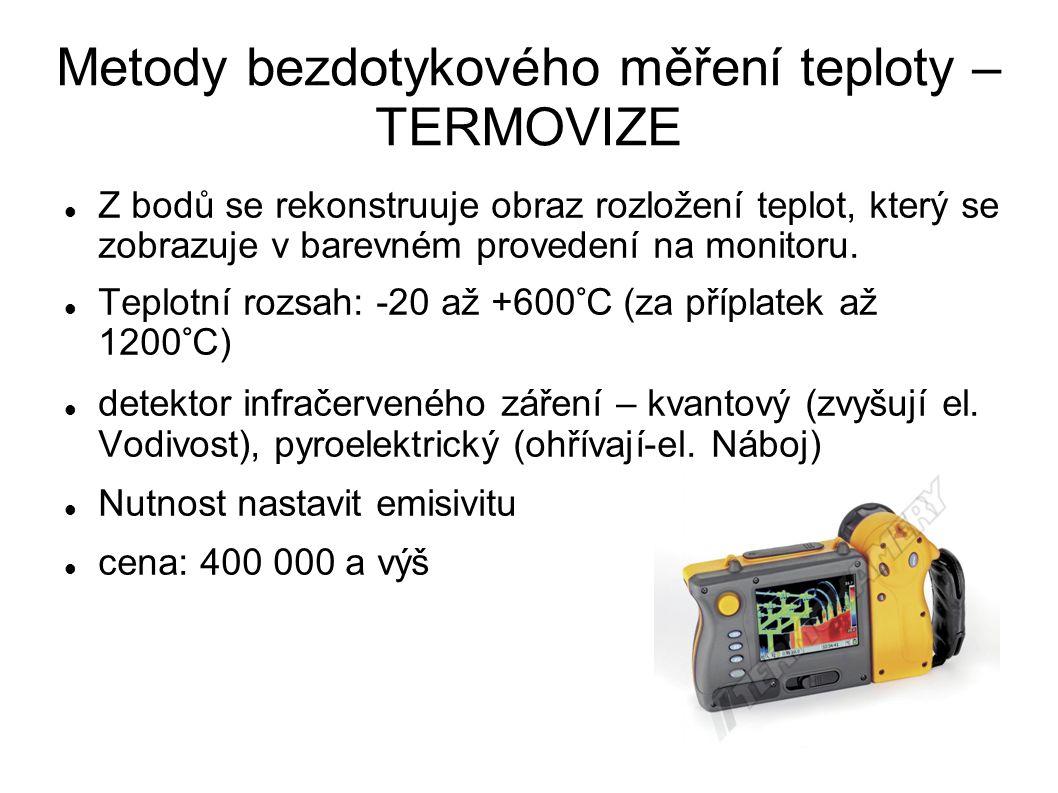 Metody bezdotykového měření teploty – TERMOVIZE Z bodů se rekonstruuje obraz rozložení teplot, který se zobrazuje v barevném provedení na monitoru.