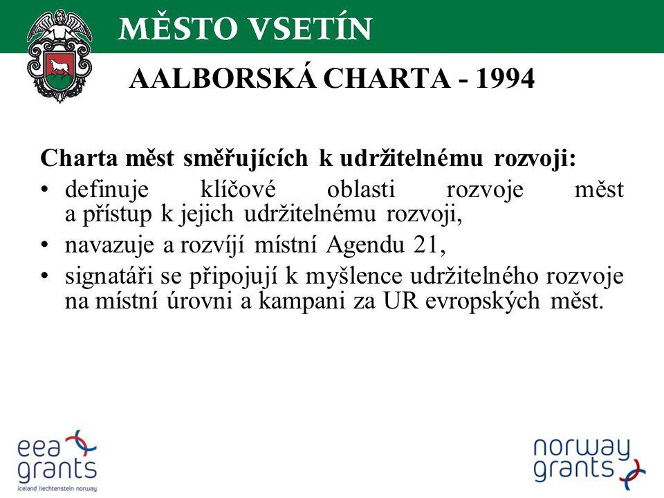 AALBORSKÁ CHARTA - 1994 Charta měst směřujících k udržitelnému rozvoji: definuje klíčové oblasti rozvoje měst a přístup k jejich udržitelnému rozvoji, navazuje a rozvíjí místní Agendu 21, signatáři se připojují k myšlence udržitelného rozvoje na místní úrovni a kampani za UR evropských měst.