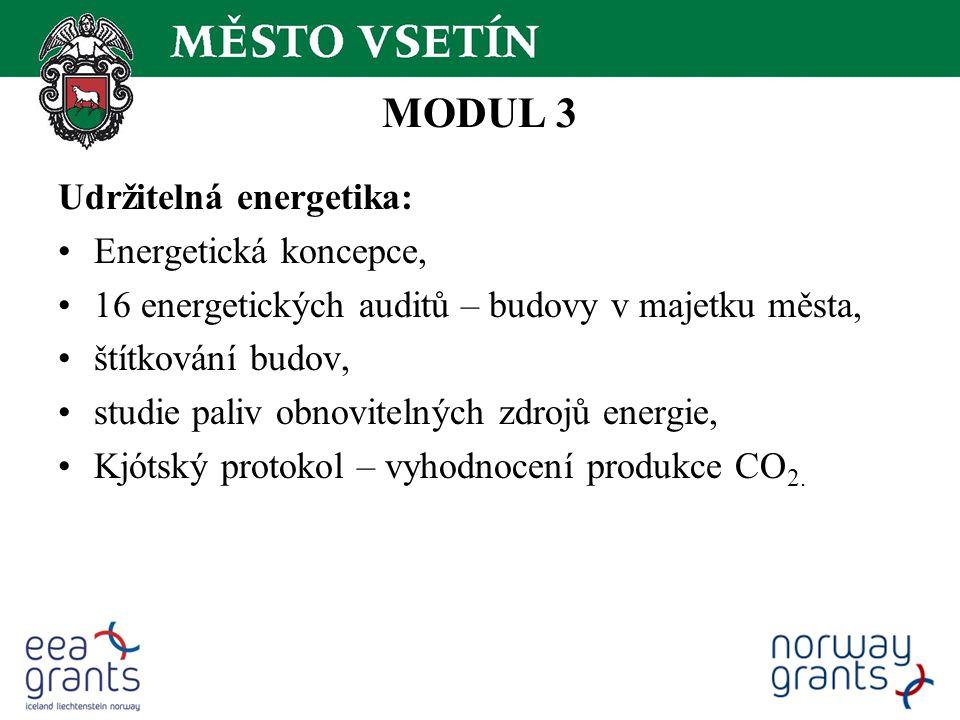MODUL 3 Udržitelná energetika: Energetická koncepce, 16 energetických auditů – budovy v majetku města, štítkování budov, studie paliv obnovitelných zdrojů energie, Kjótský protokol – vyhodnocení produkce CO 2.