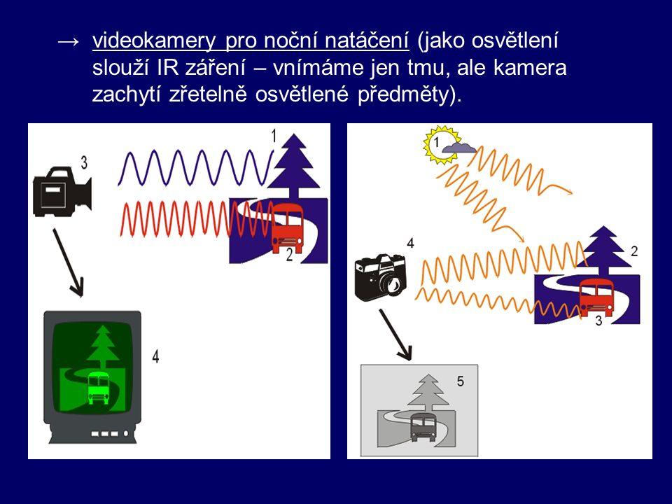 - vlastnosti IR: → není viditelné okem  využití v dálkových ovladačích → lidské tělo vyzařuje IR záření – pomocí IR brýlí lze pozorovat v naprosté tmě