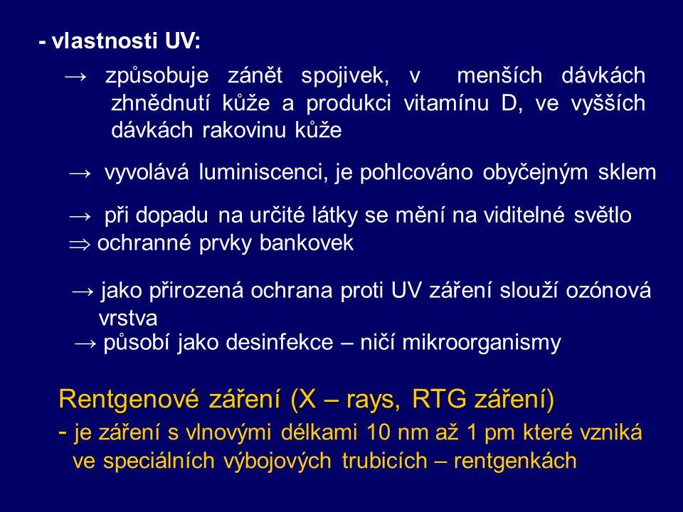 4. monochromatické: 1 vlnová délka – laser Ultrafialové záření (UV – ultra violet) - - je elektromagnetické záření o vlnové délce kratší, než má světl