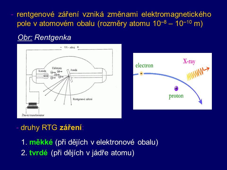 - vlastnosti UV: → způsobuje zánět spojivek, v menších dávkách zhnědnutí kůže a produkci vitamínu D, ve vyšších dávkách rakovinu kůže → vyvolává luminiscenci, je pohlcováno obyčejným sklem → při dopadu na určité látky se mění na viditelné světlo  ochranné prvky bankovek → jako přirozená ochrana proti UV záření slouží ozónová vrstva → působí jako desinfekce – ničí mikroorganismy Rentgenové záření (X – rays, RTG záření) - - je záření s vlnovými délkami 10 nm až 1 pm které vzniká ve speciálních výbojových trubicích – rentgenkách