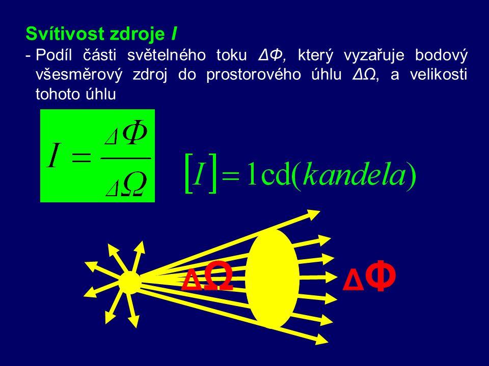 Prostorový úhel Ω - -je vrcholový úhel, který odpovídá kuželové ploše vytínající na kulové ploše o poloměru 1m kulový vrchlík o obsahu 1m 2