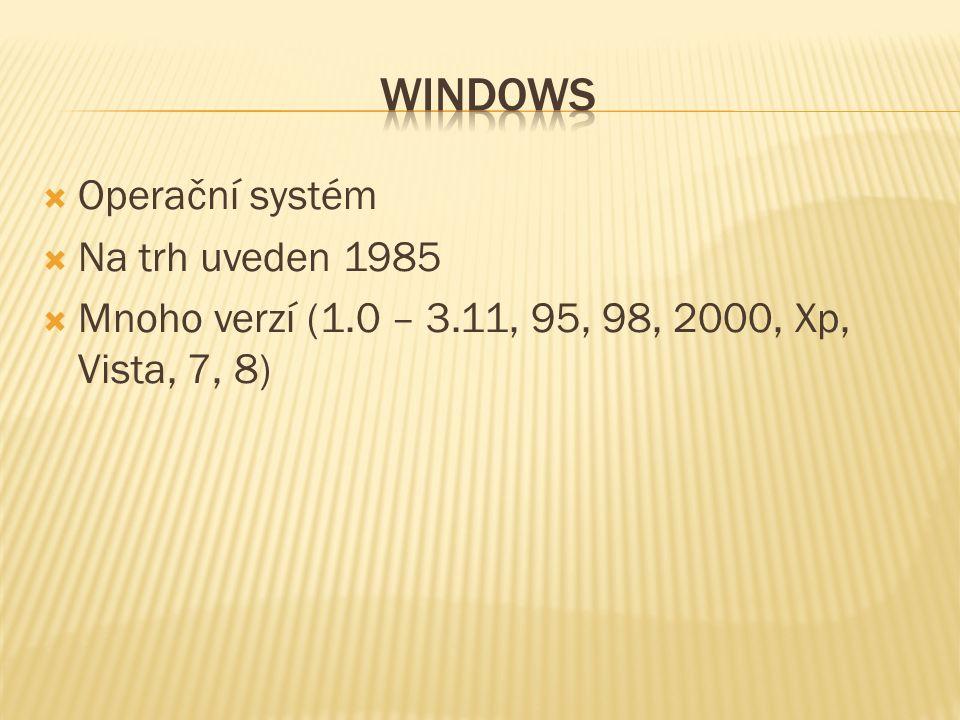  Operační systém  Na trh uveden 1985  Mnoho verzí (1.0 – 3.11, 95, 98, 2000, Xp, Vista, 7, 8)