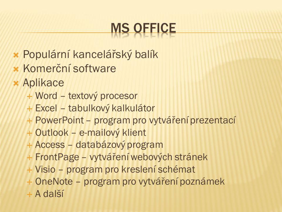  Populární kancelářský balík  Komerční software  Aplikace  Word – textový procesor  Excel – tabulkový kalkulátor  PowerPoint – program pro vytváření prezentací  Outlook – e-mailový klient  Access – databázový program  FrontPage – vytváření webových stránek  Visio – program pro kreslení schémat  OneNote – program pro vytváření poznámek  A další