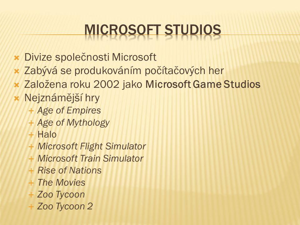  Divize společnosti Microsoft  Zabývá se produkováním počítačových her  Založena roku 2002 jako Microsoft Game Studios  Nejznámější hry  Age of Empires  Age of Mythology  Halo  Microsoft Flight Simulator  Microsoft Train Simulator  Rise of Nations  The Movies  Zoo Tycoon  Zoo Tycoon 2