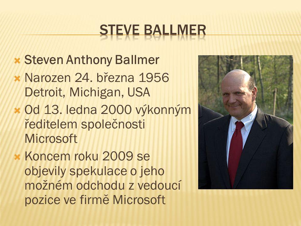  Steven Anthony Ballmer  Narozen 24. března 1956 Detroit, Michigan, USA  Od 13.