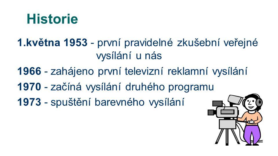 Historie 1.května 1953 - první pravidelné zkušební veřejné vysílání u nás 1966 - zahájeno první televizní reklamní vysílání 1970 - začíná vysílání druhého programu 1973 - spuštění barevného vysílání