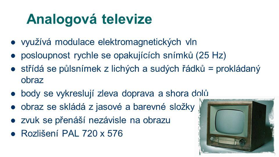 Analogová televize využívá modulace elektromagnetických vln posloupnost rychle se opakujících snímků (25 Hz) střídá se půlsnímek z lichých a sudých řádků = prokládaný obraz body se vykreslují zleva doprava a shora dolů obraz se skládá z jasové a barevné složky zvuk se přenáší nezávisle na obrazu Rozlišení PAL 720 x 576