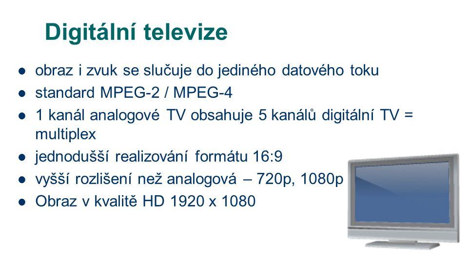 Digitální televize obraz i zvuk se slučuje do jediného datového toku standard MPEG-2 / MPEG-4 1 kanál analogové TV obsahuje 5 kanálů digitální TV = multiplex jednodušší realizování formátu 16:9 vyšší rozlišení než analogová – 720p, 1080p Obraz v kvalitě HD 1920 x 1080