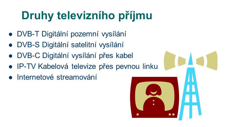 Druhy televizního příjmu DVB-T Digitální pozemní vysílání DVB-S Digitální satelitní vysílání DVB-C Digitální vysílání přes kabel IP-TV Kabelová televize přes pevnou linku Internetové streamování
