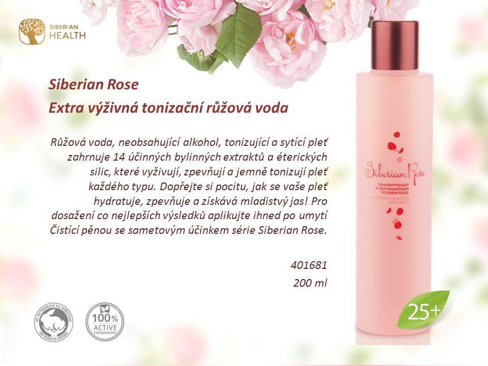Siberian Rose Extra výživná tonizační růžová voda Růžová voda, neobsahující alkohol, tonizující a sytící pleť zahrnuje 14 účinných bylinných extraktů a éterických silic, které vyživují, zpevňují a jemně tonizují pleť každého typu.