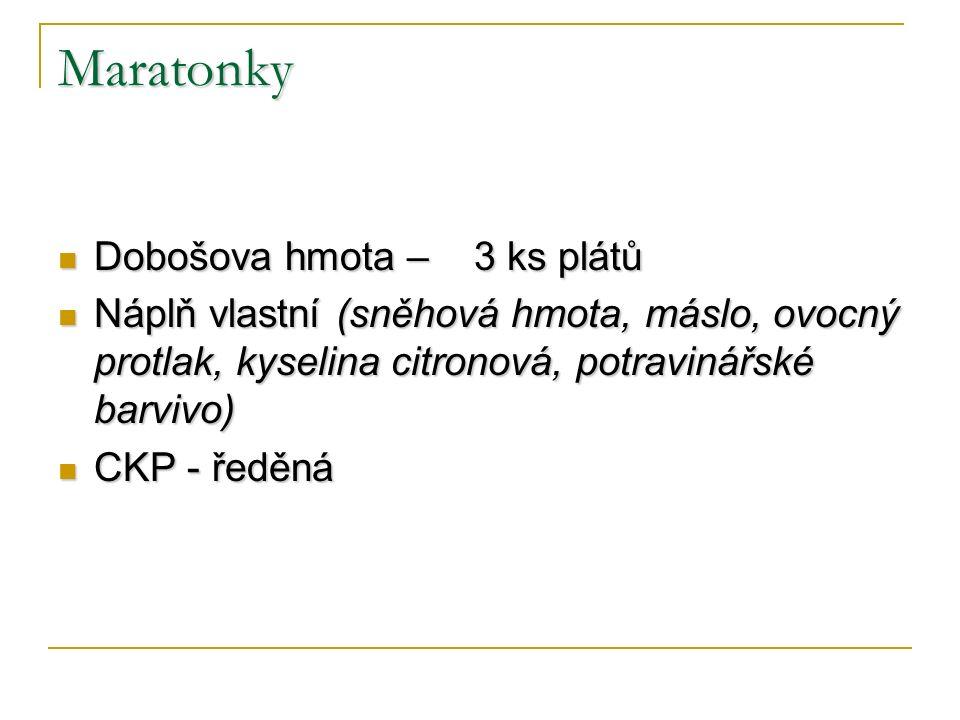 Maratonky Dobošova hmota – 3 ks plátů Dobošova hmota – 3 ks plátů Náplň vlastní (sněhová hmota, máslo, ovocný protlak, kyselina citronová, potravinářské barvivo) Náplň vlastní (sněhová hmota, máslo, ovocný protlak, kyselina citronová, potravinářské barvivo) CKP - ředěná CKP - ředěná