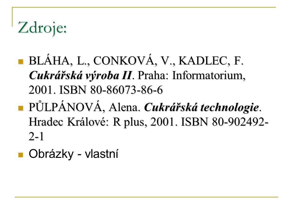 Zdroje: BLÁHA, L., CONKOVÁ, V., KADLEC, F. Cukrářská výroba II. Praha: Informatorium, 2001. ISBN 80-86073-86-6 BLÁHA, L., CONKOVÁ, V., KADLEC, F. Cukr