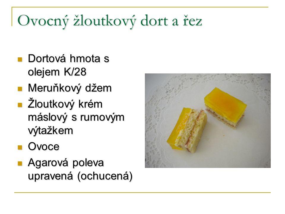 Ovocný žloutkový dort a řez Dortová hmota s olejem K/28 Dortová hmota s olejem K/28 Meruňkový džem Meruňkový džem Žloutkový krém máslový s rumovým výt