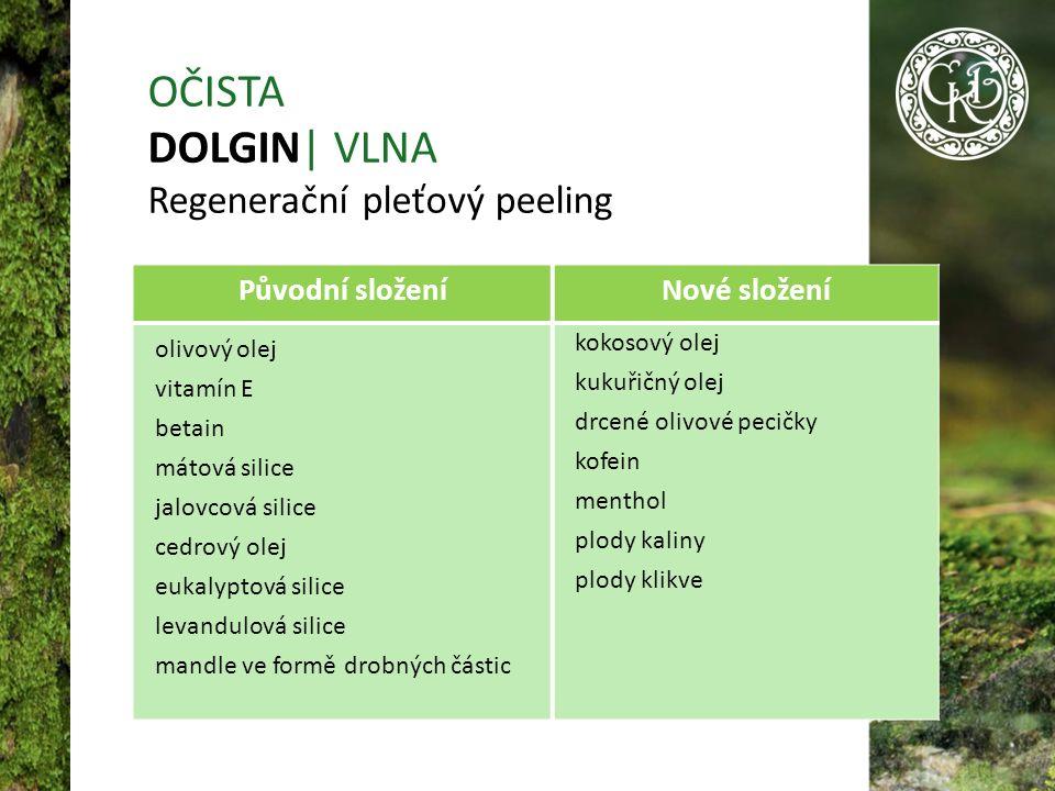 Původní složeníNové složení olivový olej vitamín Е betain mátová silice jalovcová silice cedrový olej eukalyptová silice levandulová silice mandle ve formě drobných částic kokosový olej kukuřičný olej drcené olivové pecičky kofein menthol plody kaliny plody klikve OČISTA DOLGIN| VLNA Regenerační pleťový peeling