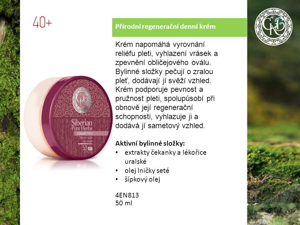 Přírodní regenerační denní krém Krém napomáhá vyrovnání reliéfu pleti, vyhlazení vrásek a zpevnění obličejového oválu.