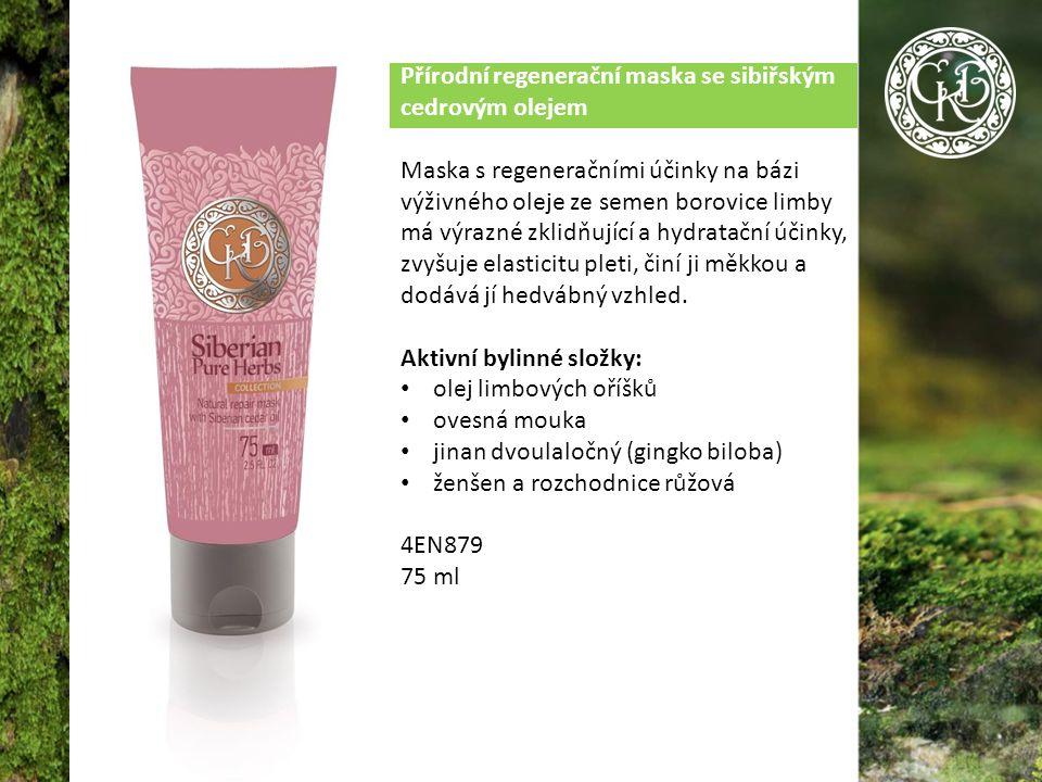 Přírodní regenerační maska se sibiřským cedrovým olejem Maska s regeneračními účinky na bázi výživného oleje ze semen borovice limby má výrazné zklidňující a hydratační účinky, zvyšuje elasticitu pleti, činí ji měkkou a dodává jí hedvábný vzhled.