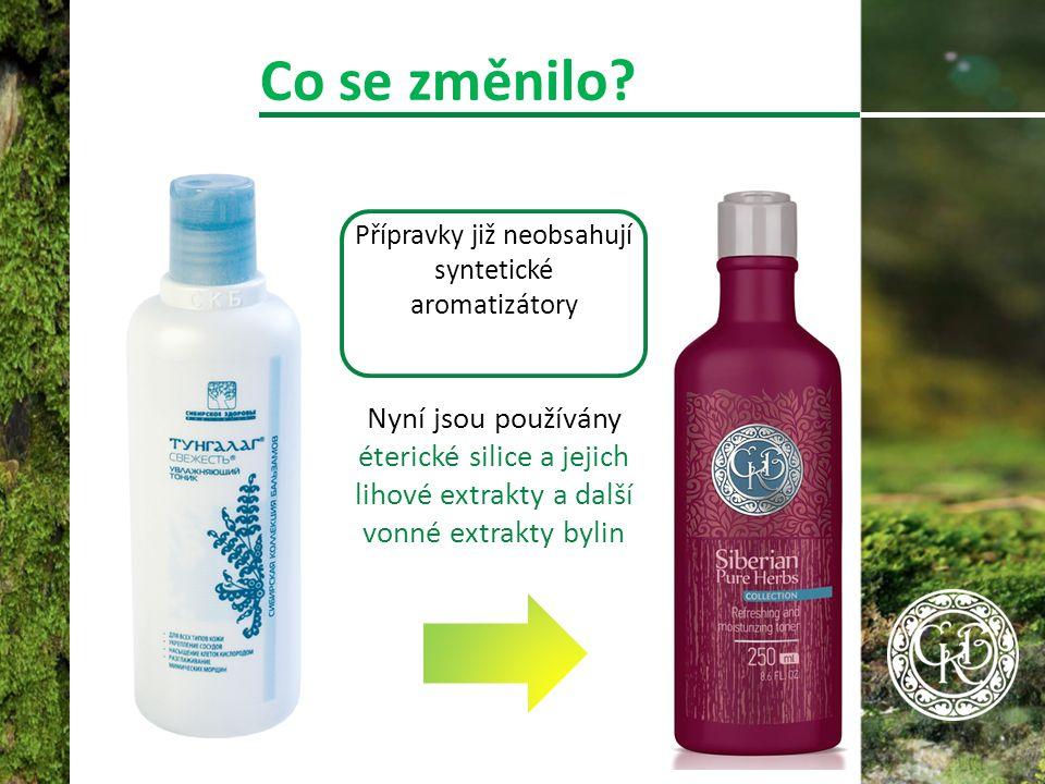 Přípravky již neobsahují syntetické aromatizátory Nyní jsou používány éterické silice a jejich lihové extrakty a další vonné extrakty bylin Co se změnilo?
