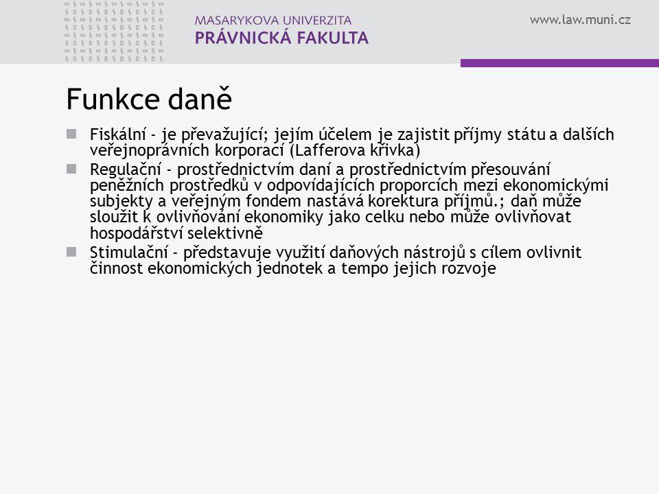 www.law.muni.cz Funkce daně Fiskální - je převažující; jejím účelem je zajistit příjmy státu a dalších veřejnoprávních korporací (Lafferova křivka) Re