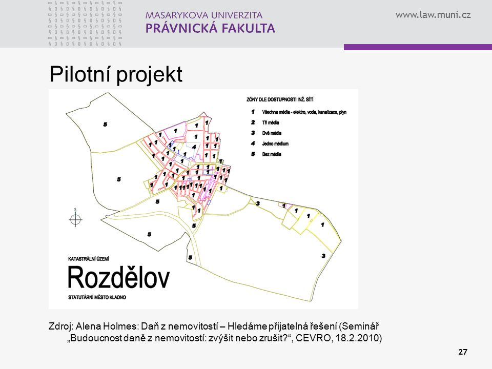 """www.law.muni.cz Pilotní projekt Zdroj: Alena Holmes: Daň z nemovitostí – Hledáme přijatelná řešení (Seminář """"Budoucnost daně z nemovitostí: zvýšit neb"""