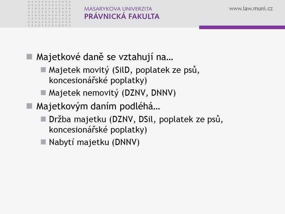 www.law.muni.cz Majetkové daně se vztahují na… Majetek movitý (SilD, poplatek ze psů, koncesionářské poplatky) Majetek nemovitý (DZNV, DNNV) Majetkový