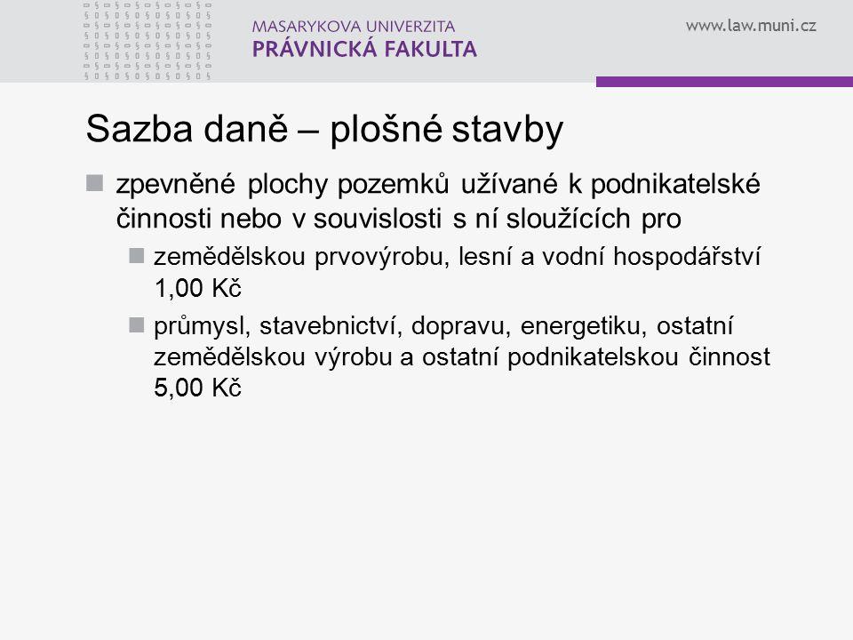 www.law.muni.cz Koeficienty polohová renta – koeficient podle počtu obyvatel v hodnotě 1,0 – 4,5, který může být obecně závaznou vyhláškou snížen či zvýšen; funkce fiskální, v případě stavebních pozemků pak rovněž funkce regulační místní koeficient – koeficient v hodnotě 2,3,4,5, který je zaveden obecně závaznou vyhláškou