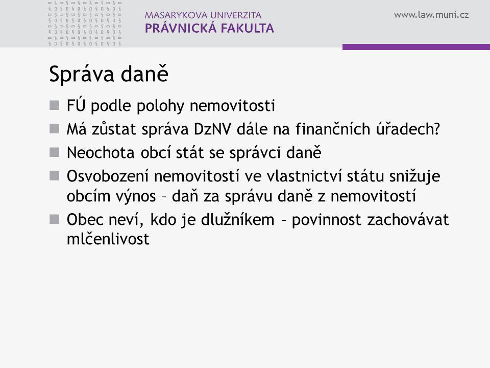 www.law.muni.cz Správa daně FÚ podle polohy nemovitosti Má zůstat správa DzNV dále na finančních úřadech? Neochota obcí stát se správci daně Osvobozen