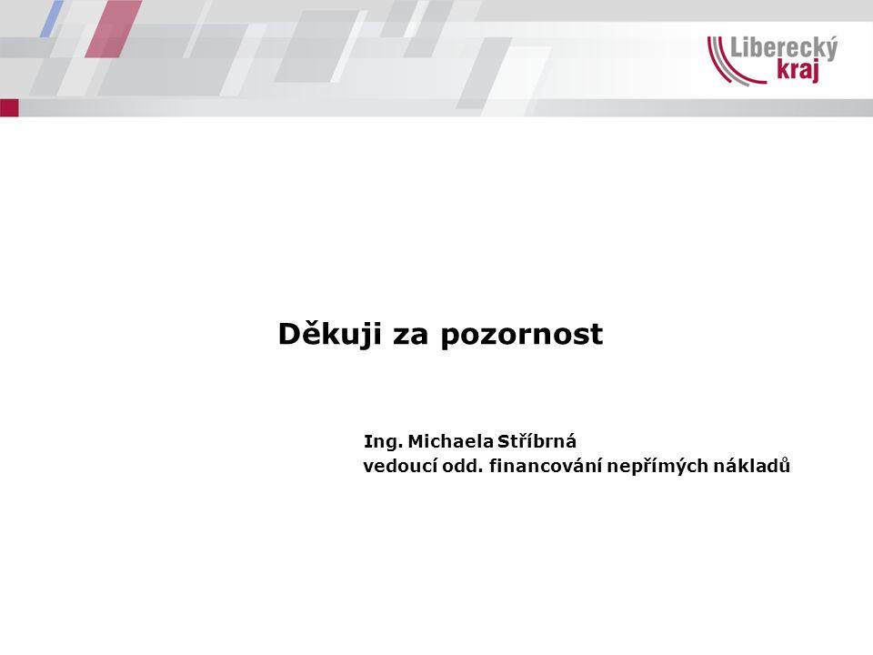 Děkuji za pozornost Ing. Michaela Stříbrná vedoucí odd. financování nepřímých nákladů